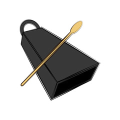 Isolated cowbell sketch. Musical instrument