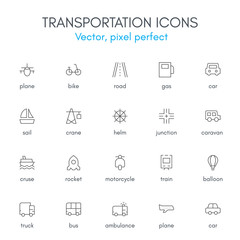 Transportation theme, line icon set.