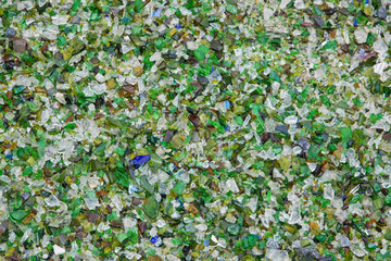 Fragments of glass at a UK recycling plant