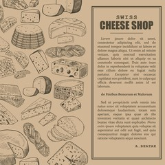 Shop or store, market sketch banner with cheese