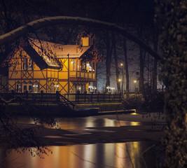 Freiberg Schwanenschloesschen Wasser Teich Erzgebirge nacht Stimmung