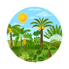 Card with tropical palm trees. Exotic tropical plants Illustration of jungle nature