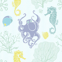 Underwater world. Seamless pattern with seahorses, octopus and  plants. Colour vector background. Silhouettes.