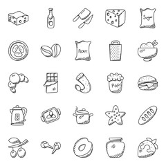 Hand Drawn Doodles of Food Icons