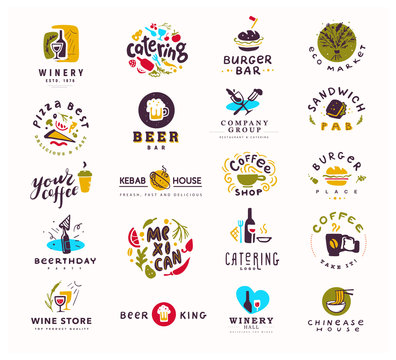 Collection of vector flat food and alcohol logo set isolated on white background. Hand drawn elements, dish icons. Perfect for restaurant, cafe, catering bars and fast food insignia banners, symbols.