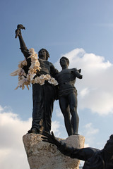 Flowers on the statues of Martyrs' Square in Beirut, Lebanon
