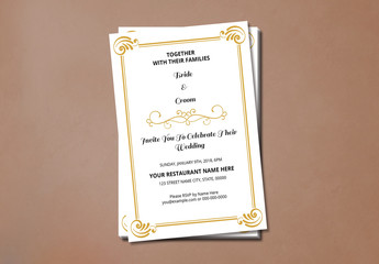 Wedding Invitation with Gold Ornamental Elements 1