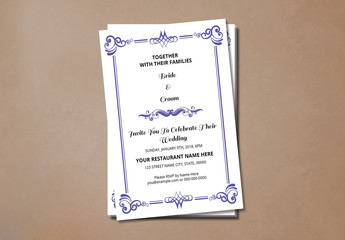 Wedding Invitation with Purple Ornamental Elements 1