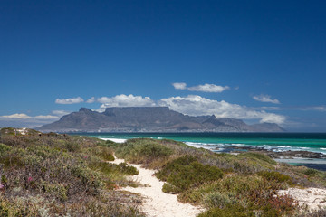 Table mountain cape town south africa scenic view from blouberg