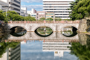 Stone Bridge Spanning the Old Moat of Fukui Castle, Japan