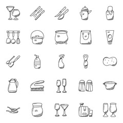 Set of Kitchen Utensils Doodles