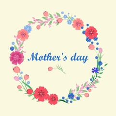 Mothers Day greeting card. vector illustration.