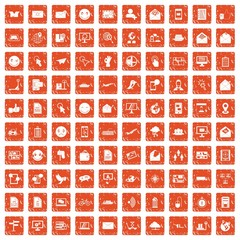 100 mail icons set grunge orange
