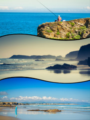 Collage of travel pictures from catedrales beach in Galicia Spain.