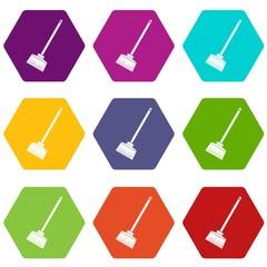 Broom icon set color hexahedron