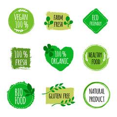 Set of vegan logos, badges, signs. Hand drawn bio, healthy food badges. Vegan logo. Vector illustration