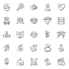 Doodle Icon Set of Romance and Valentine Gifts