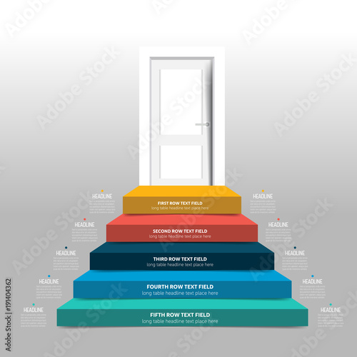 door and stairs infographic diagram scheme chart template
