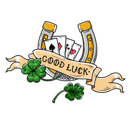 Tattoo horseshoe, four leaf clover and playing cards. Good Luck tattoo. Old school style. Lucky symbol