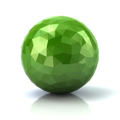 Green low poly abstract 3d sphere