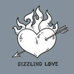 Red burning heart pierced by arrow. Sizzling love