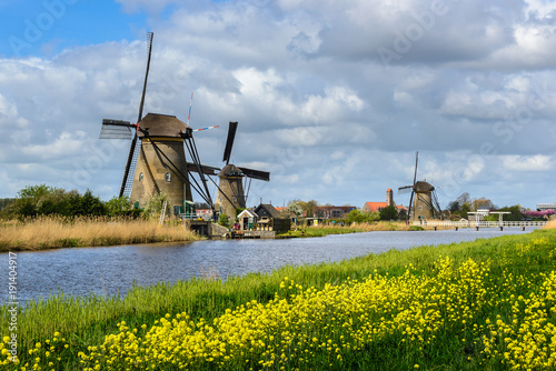 Dutch Mills In Kinderdijk South Holland Stock Photo And Royalty
