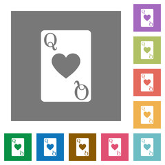 Queen of hearts card square flat icons