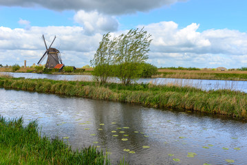 Foto op Plexiglas Molens Dutch mill in Kinderdijk, South Holland
