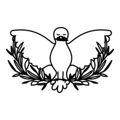 pigeon peace symbol front view with olive branch in her peak on black silhouette vector illustration