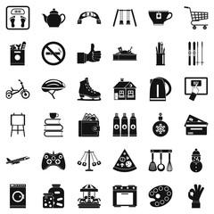 Maternity hospital icons set, simple style