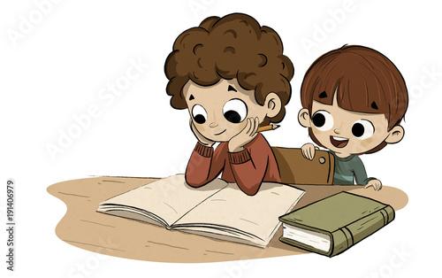 """Dibujos Animados De Animales Estudiando: """"Niño Estudiando Con Su Hermano Pequeño"""" Stock Photo And"""