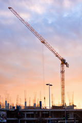 building with crane construction industry