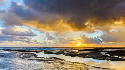 Overcast and Cloudy Sunrise Seascape