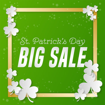 St. Patrick 's Day square sale banner. Composition with clover, gold strips and bright point. Vector illustration.