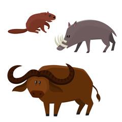 Vector cute beaver, buffalo bull, babirusa in cartoon style isolated on white background.
