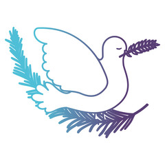 pigeon peace symbol side view with olive branch in her peak on gradient color silhouette from blue to purple vector illustration