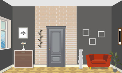 Illustration of a room with doors, a red chair, vase, picture and commode. Interior of the room with furniture.