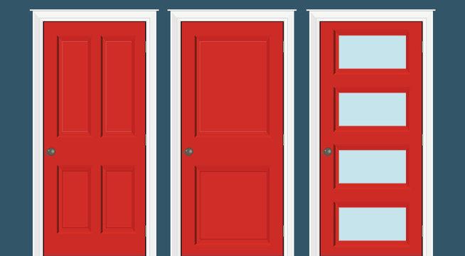Red doors closed - door frame only, no walls. Red doors illustration.