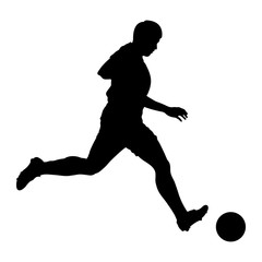 Football (soccer) player shooting silhouette isolated on a white background - Eps10 vector graphics and illustration
