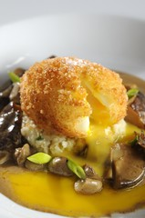 Breaded Egg with Mushrooms sauce