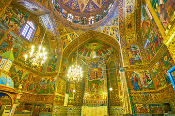 Panorama of Vank Cathedral in Isfahan, Iran