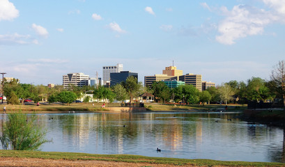 Aluminium Prints Texas Downtown Midland, Texas on a Sunny Day as Seen Over the Pond at Wadley Barron Park