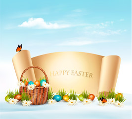 Happy Easter background. Eggs in a basket. Vector.