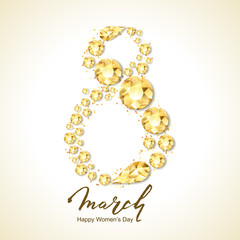8 March vector greeting card, International Women's Day. Number eight with 3d gold round diamonds, gems, jewels and hand drawn lettering. Holiday banner, poster, party invitation background.