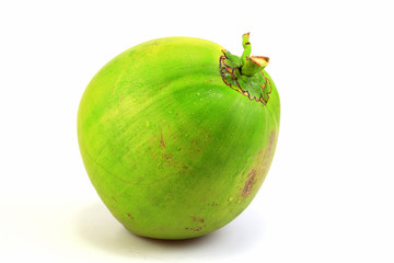 Green fresh coconuts isolated on white background, Fruits concept.