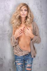 Beauty portrait of blonde attractive woman.