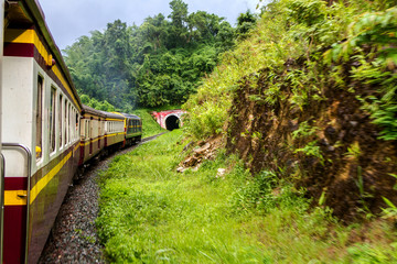 Backpack travel by train lifestyle In northern, Thailand
