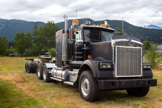 Big black semi truck.