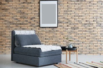Beautiful trendy room interior with modular sofa section and stylish table