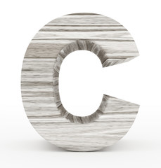 letter C 3d wooden isolated on white